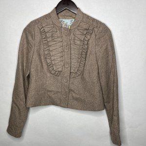 Anthro Tabitha Cream Ruffle Wool Blend Blazer